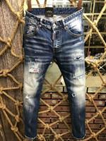 Wholesale Bleach Coat - Italian brand jeans 2018 High quality fashion New Style Brand Men's Denim Jean Embroidery Tiger Pants Holes Jeans Zipper Men Pants Trousers