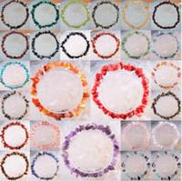 ingrosso perline opaline viola-Branelli liberi del chip di pietra naturale di trasporto di cristallo viola opalino di corniola della fluorite del quarzo del carnelian braccialetto di stirata del lapis