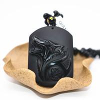 ingrosso ciondolo nero della collana della giada-New Black Obsidian Wolf Collana pendente Amulet Jade Pendant Jade Jewelry Fine Jewelry Summer ornaments Collection