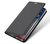 monedero sony al por mayor-Caja del teléfono de lujo de la carpeta para Iphone 11 Pro X XR XS Max 8 7 6 más Nota 10 S9 S8 S10 S10e piel suave sensación de tirón Titular del casco Caso GSZ305