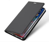 carteras de fieltro al por mayor-Funda de lujo para teléfono con billetera para Iphone X XR XS Max 8 7 6 6s plus galaxy Note10 s9 s8 S10 S10e Sensación de piel lisa Funda con tapa Soporte para casco GSZ305