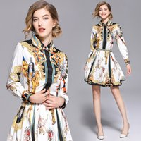 ingrosso gli insiemi di mini pannello esterno della camicetta-Runway Two Piece Women Set da donna Vintage Print Top Camicetta Camicetta + Mini Gonna Abito Tute Estate Manica lunga bavero collo Casual all'ingrosso