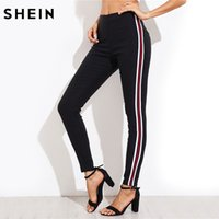 Wholesale Black Satin Skinny Pants - SHEIN Ladies Side Striped Skinny Pants High Waist Woman Pants Casual Women Autumn Black Zipper Fly Skinny Trousers