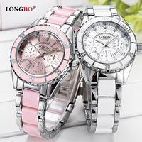 reloj longbo al por mayor-LONGBO Marca Reloj de Moda de Lujo de Cerámica Y Aleación Pulsera Analógica Reloj de Pulsera Relogio Feminino Reloj Montre Relogio