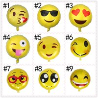 Wholesale aluminum items - 18 Styles 45*45cm Emoji Aluminum Balloons Kids Toys Home Decor Balloon Xmas Centerpeices Party Decoration Gifts Items Toys for Adults