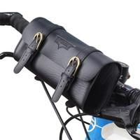 braune tragetasche großhandel-Retro Fahrrad Tasche Männer Frauen Wasserhahn Falten Lenker Tasche Sattel Bike Taschen Schwarz Braun Pu Einfach Tragen 22yx cc