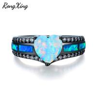 кольцо с голубым каменным золотом оптовых-RongXing Белый огонь сердце опал камень кольца для женщин старинные черное золото заполнены Синий Камень кольцо ювелирные изделия подарки RB1352