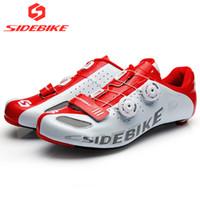 cerraduras uk al por mayor-sidebike carbon road zapatos de ciclismo hombres EUR 46 US 13 UK 12 zapatos de bicicleta de carretera autobloqueo bicicleta sneakers transpirable profesional