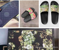 Wholesale Flat Leather Sandals For Women - Fashion slide sandals slippers for men women WITH ORIGINAL BOX 2018 Hot Designer flower printed unisex beach flip flops slipper BEST QUALITY