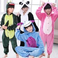 herbst nächte pyjamas großhandel-Jungen Mädchen Animal Carton Pyjamas Unisex Warm Nachtwäsche Für Herbst Winter Nacht Weihnachtsgeschenke Pyjamas für Kinder