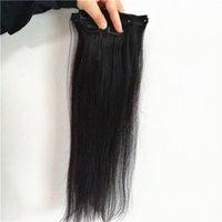 saç boyası renk setleri toptan satış-İnsan saç brezilyalı bakire saç Ipeksi Düz Klip setleri doğal renk boyalı olabilir 80g 100g ücretsiz DHL UPS