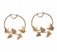 goldkreishaken großhandel-Großer Kreis-Schmetterling baumeln Ohrringe Temperament-Frauen Haken-Ohrring Eardrop-Goldton-Ohrclip für Partei-Schmucksache-Zusätze