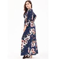 391ab0158b68 manica Donna Bohemian Maxi Long Plus Size Casual Kaftan Islamico Abaya  abito musulmano Camicia stampa floreale Abito manica lunga vestido