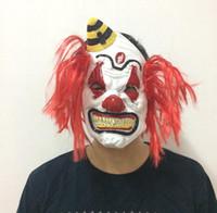 pelo rojo de halloween al por mayor-Máscara de miedo de lujo con máscara de payaso de pelo rojo Máscara de payaso de malvado de Halloween Costume