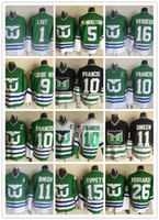 camisas verdes do hóquei venda por atacado-Homens mais novos do CCM costurados baleeiros de Hartford # 1 LIUT / # 10 FRANCIS / # 11 DINEEN / # 15 TIPPETT / # 16 VERBEEK Branco Preto Verde CCM Hóquei No Gelo Jerseys