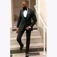индивидуальные смокинги оптовых-3 Pieces Bespoke Classic Black Men Wedding Suit Slim Fit Prom Mens Suits Custom Made Tailor Made Groom Tuxedos For Men 2018