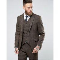colete moderno venda por atacado-Custom Made Tweed Ternos Homens Formais Skinny Casamento Smoking Suave Blazer Moderno 3 Peça Homens Ternos (Jacket + Pants + Vest) K368