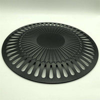 Wholesale Portable Cooking Gas - Outdoors Portable Roasting Pans Cooking Tools Black Round Non Stick Gas Grill Pan Smokeless Indoor Barbeque Grills 15dy C R