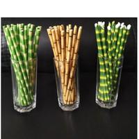 pajitas de papel amarillo al por mayor-25 unids Verde Amarillo Bambú Imprimir Tiki Pajitas de Papel Pajitas de Papel Ambiental Para Boda Cumpleaños Bar / Pub Party Supply