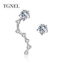 pendientes de circón al por mayor-TGNEL 925 Sterling Silver Drop Earrings Trendy 2018 Fine Jewelry for Women Cubic Zircon Ear Crawler Earrings for Women Earring