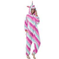 pijamas de macacão para adultos venda por atacado-Adulto Unisex Flanela Unicorn Animal Onesies Pijama Onepiece Jumpsuit