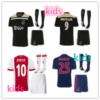 Wholesale Ajax Shorts Shirts - top quality 2018 2019 Ajax FC Soccer Jerseys kids kits + socks 17 18 19 Camisa ZIYECH KLUIVERT NOURI DOLBERG YOUNES Jerseys Football Shirts