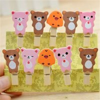 Wholesale photos animal online - DIY Photo Clips With Rope Home Wedding Decoration Clothespins Mini Animal Wooden Clip Many Styles gc C R