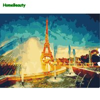 Wholesale paris painting canvas - Diy Acrylic paints coloring by numbers canvas paintings for the kitchen home decor paris landscape drawing pictures gift WY5005