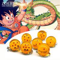Wholesale anime cosplay characters - Zoeber Dragon Ball Z Keychain Cartoon DBZ Child anime 2.7CM Crystal Ball 1-7 Stars cosplay ball Keyrings car bag key holder