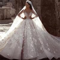 vestidos de casamento glamouroso vestido de bola venda por atacado-Luxo glamourosa Dubai Árabe Nova Moda Lace Ball Gowns Vestidos de Casamento Mangas Compridas Flores 3D Beading Vestido de Noiva Vestidos de Noiva BC0151