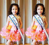 vestidos de flor de laranja venda por atacado-Laranja rosa Little Kids Cupcake Tutu Vestidos Pageant 2018 Tiers Babados Vestido de Flor Curto Menina Appliqued Criança Prom Party Vestidos