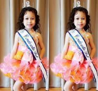 vestido naranja de organza al por mayor-Orange Pink Little Kids Cupcake Tutu Vestidos de desfile 2018 Tiers Ruffles Vestido corto para niña de flores Apliques Vestidos de fiesta de fiesta para niños pequeños