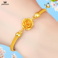 Wholesale gold beautiful bangle for sale - Group buy 24K Pure Gold Bracelet Real Solid Gold Bangle Solid Beautiful Rose Romantic Trendy Elegant Classic Jewelry Hot Sell New