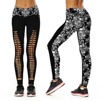 Wholesale full human skeleton - Human Skeleton Number Printing High Waist Bound Feet Pants Self-cultivation Thin Woman Yoga