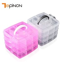 Wholesale Plastic Beads For Crafts - 3-layers Detachable DIY Desktop Storage Box Clear Plastic Storage Box Jewelry Organizer Holder Cabinets For Beads Crafts Case