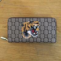 impresiones de la lona del tigre al por mayor-Long Style Designer Clutch Monedero de mujer Brand canvas tiger Monedero Bifold Tarjeteros de tarjeta Animal print Carteras con caja GUU Bags
