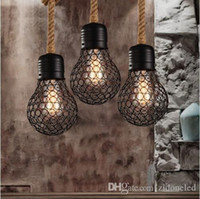 kafes farları toptan satış-Vintage halat kolye ışık edison ampul Amerikan Tarzı metal kafes lamba restoran yemek odası ışıkları endüstriyel bar aydınlatma