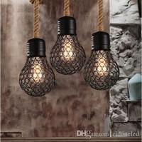edison stil anhänger großhandel-Vintage Seil Pendelleuchte Edison Glühbirne amerikanischen Stil Metallkäfig Lampe Restaurant Esszimmer Lichter industrielle Bar Beleuchtung