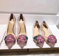 туфли на высоком каблуке оптовых-Алмазный цветок Женщина на высоких каблуках кристаллы Горный хрусталь Bling Красный низ Свадебные туфли с острым носом с сеткой Насосы Lady party Shoes Полная упаковка