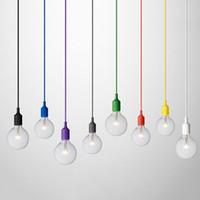 glühbirne seil großhandel-NEUER HEISSER VERKAUF bunte E27 1M Silikonkautschuk-Deckenseil-Schnur-hängende Lampen-Halter-Birnen-Einfaßungs-Beleuchtungs-Zusätze