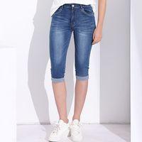 denim caprihose für frauen großhandel-Röhrenjeans Capri Röhrenjeans Damen Stretchjeans mit hoher Taille Asiatische Übergrößen Kurze Jeanshosen für Damen Sommerkleidung