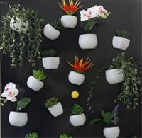 ímã novo do refrigerador venda por atacado-New Décor Frigorífico Adesivo Simulado Buquê de Flores Suculentas Planta Imã de geladeira Magnetic Planta Em Vasos para a Casa Decoração Da Parede Sala de estar
