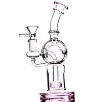 ingrosso tubo flessibile caldo-Vendita calda colorata Bong da fumo Collo piegato Gorgogliatore colorato Grande anello colorato Cheap Recycle Bowl Pipa Tubi per acqua 14mm