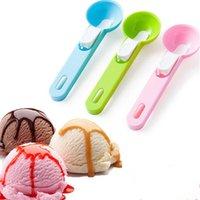 dondurma kazı toptan satış-10 adet Renkli Dondurma Kaşığı Gıda-Plastik Plastik Dig Dondurma Topu Karpuz Meyve Kazma Küresel Şekil Krem