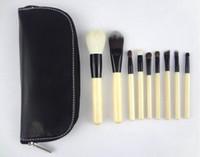 reißverschluss kosmetische schwarze tasche großhandel-neu, 9PCS Make-up Pinsel Set mit schwarzem Reißverschluss Ledertasche, professionelle Marke Kosmetik Make-up Pinsel
