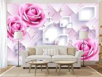 ingrosso romantiche foto di rosa-carta da parati personalizzata foto 3D romantico rose rosa murale carta da parati sfondo carta da parati camera da letto camera da letto murale papel de parede