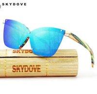 chica de gafas de madera al por mayor-SKYDOVE mariposa gafas de sol polarizadas de madera Miiiro ojo de gato vidrios de madera de las mujeres de chicas gafas de sol para mujer de bambú