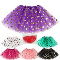 5b298f7c5bfc weihnachten pailletten kleid kinder großhandel-Pailletten Rock Mädchen Gold  Polka Dot Röcke Mädchen Dancewear Ballett