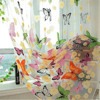 Wholesale sale voile fabric for sale - Group buy Window Sheer Curtains Panels for Living Room Bedroom Europe Style Voile Door Sheer Window Curtains Butterfly Print Hot Sale Home Supplies