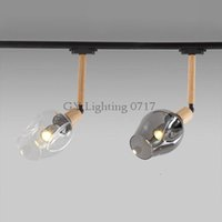 Wholesale vintage track switch resale online - Industrial Vintage LOFT led spotlights Art track lighting wood rod glass lampshade leds ceiling rail lighting fixture